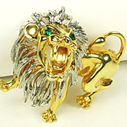 Vintage Gold Plated Metal Roaring Lion Pin