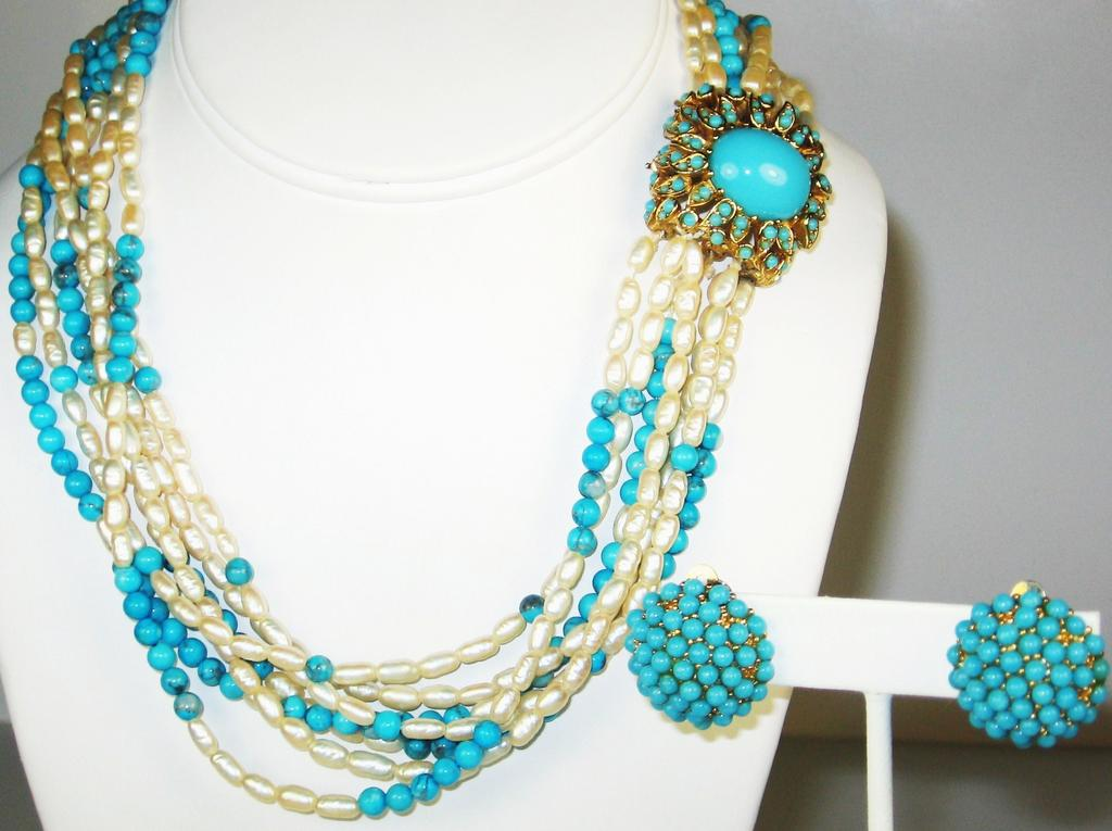 Ciner Imitation Pearl and Turquoise Colored Bead Necklace and Earrings