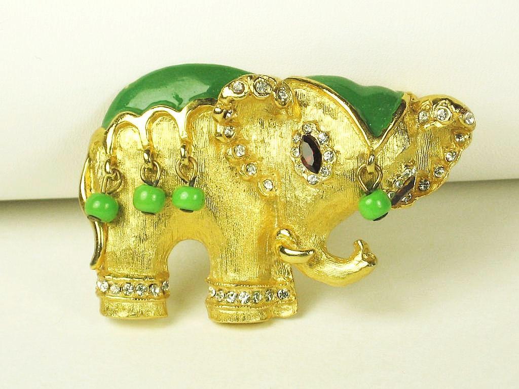 Hattie Carnegie Glass Bead Enamel Elephant Brooch