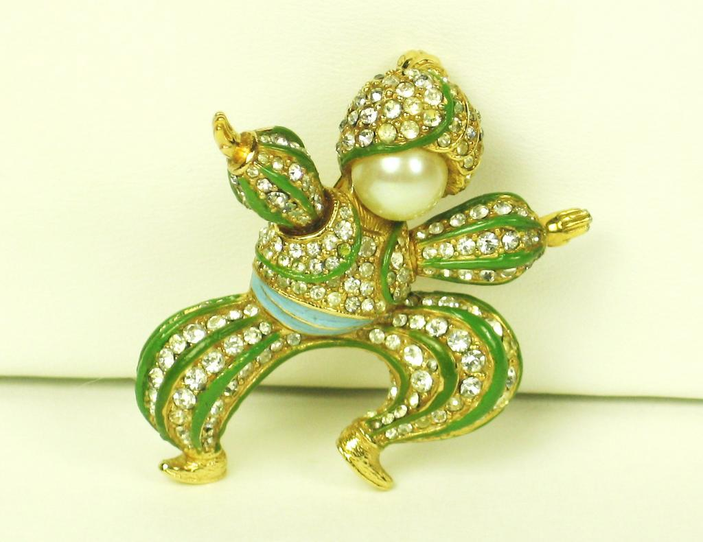 Ciner Rhinestone Dancing Figural Pin with Imitation Pearls