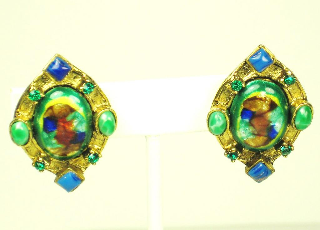 Vintage Hattie Carnegie Etruscan Style Art Glass Earrings