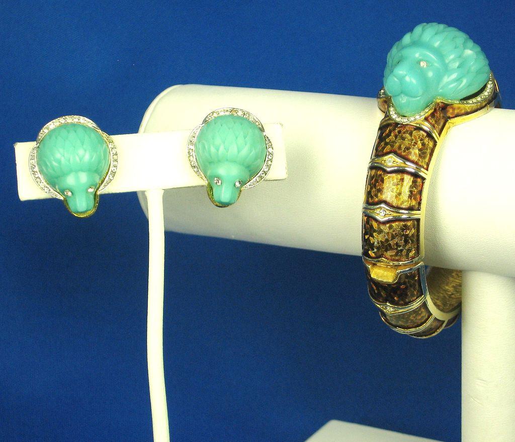 Hattie Carnegie Turquoise Colored Lion's Head Bracelet and Earrings
