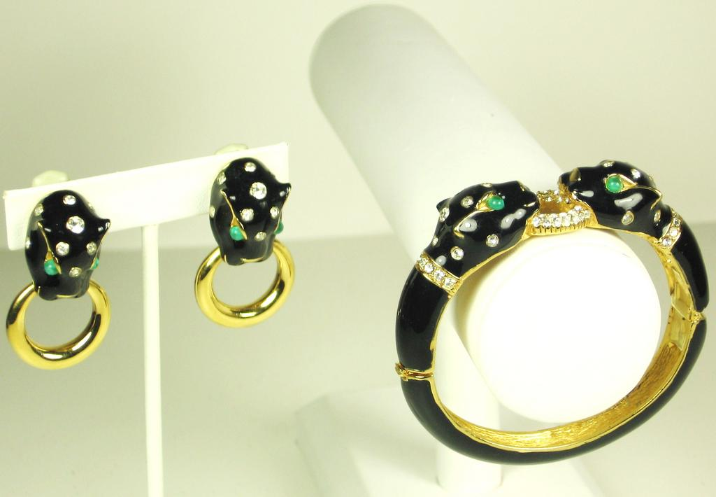 Ciner Black Enamel Panther Clamper Bracelet and Earrings