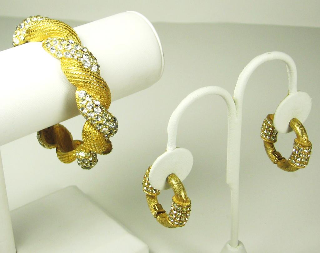 Hattie Carnegie Rhinestone Clamper Bracelet and Earrings