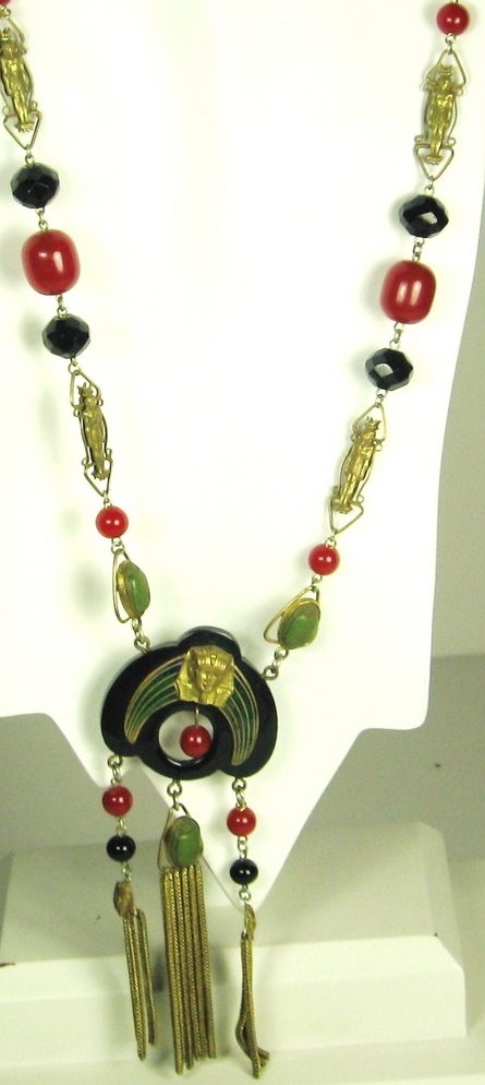 Item ID: 1748- Art Deco E.R. Necklace In Shop Backroom