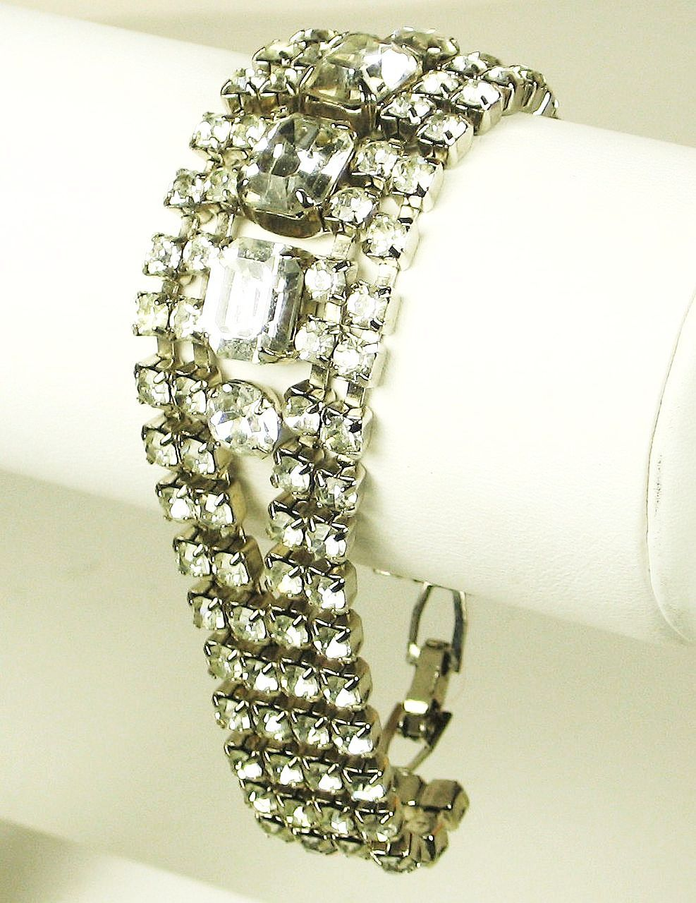 Vintage Rhodium Plated Metal and Rhinestone Bracelet