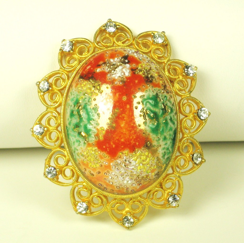 Green and Orange Colored Art Glass Cabochon Brooch