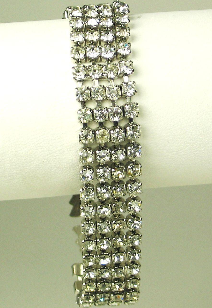 Vintage Four Row White Rhinestone Bracelet