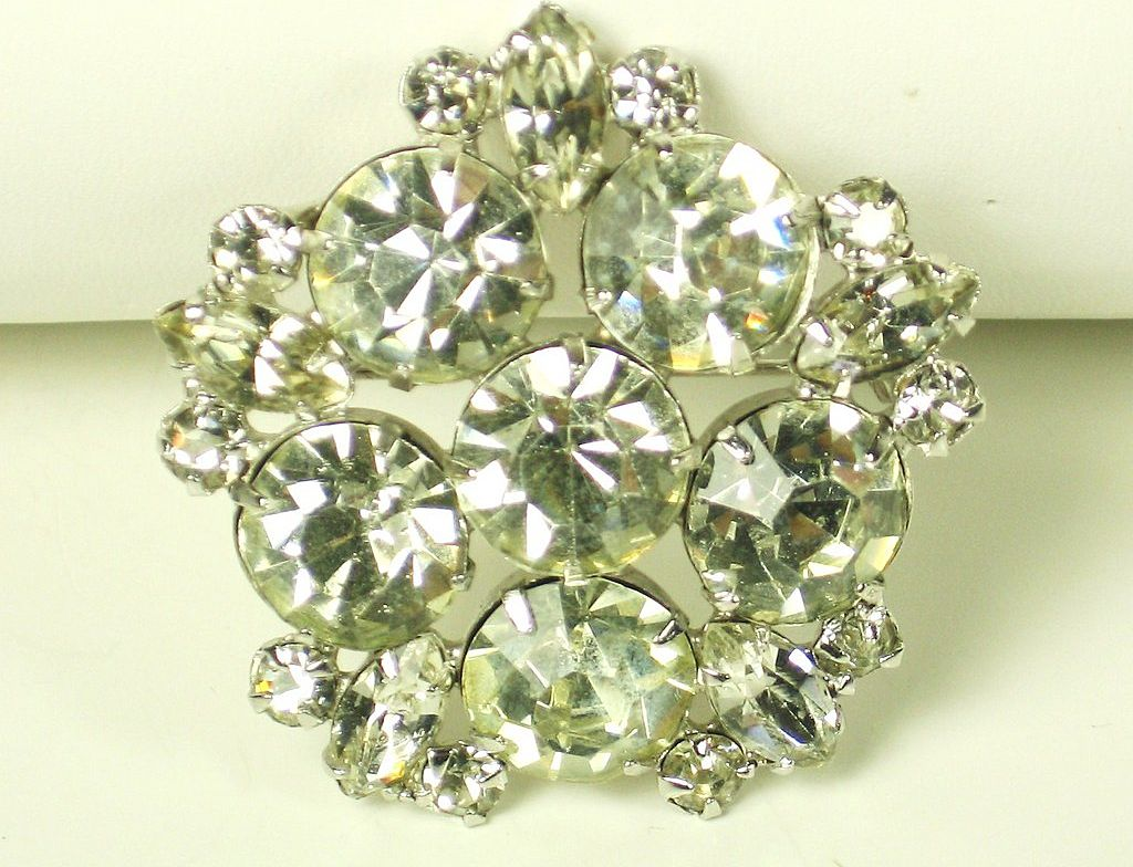 Shiny Marquise and Brilliant Cut Glass Jewel Pin