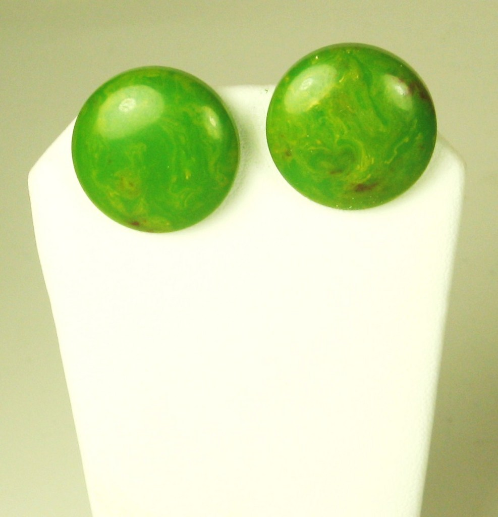 Pair of Marbled Orange and Green Bakelite Earrings