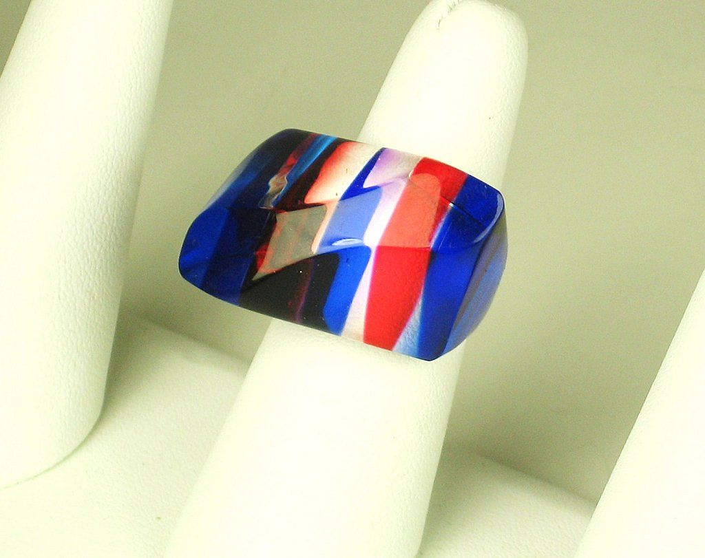 Oblong Shaped Red, White, and Blue Lucite Ring