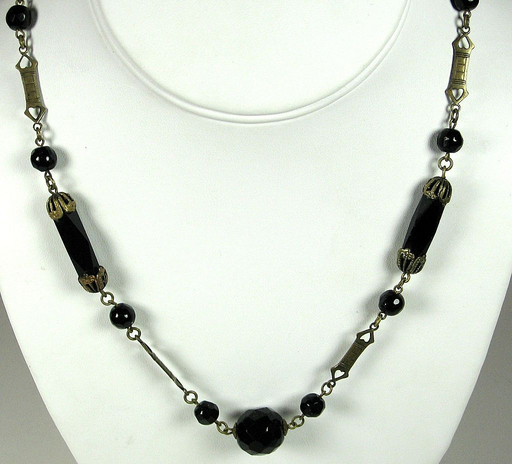 Gold Plated Filigree Metal and Jet Black Crystal Bead Necklace