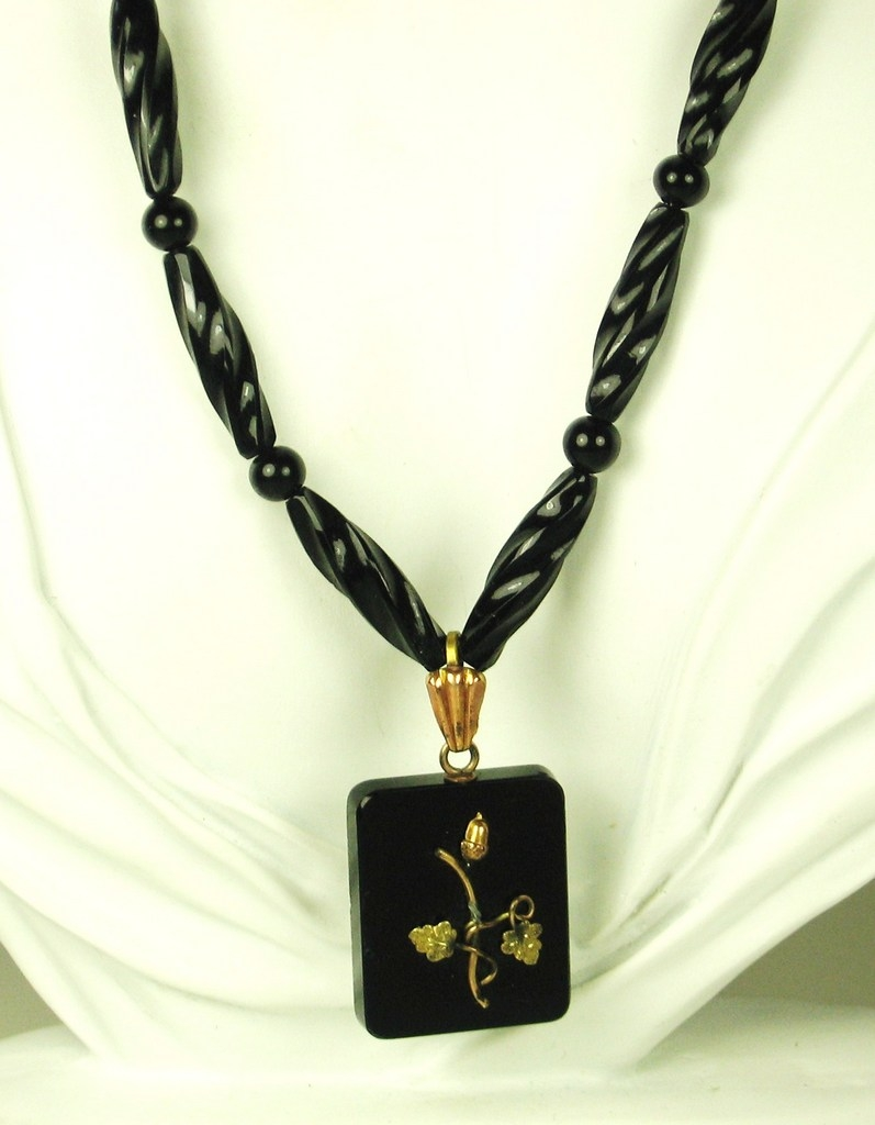 Jet Black Glass Bead and Gold Plated Metal Floral Necklace