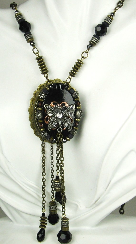 Vintage Long Black Plastic Accent Butterfly Necklace