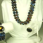 Hattie Carnegie Rose Cut Dichroic Bead Necklace, Bracelet, and Earrings
