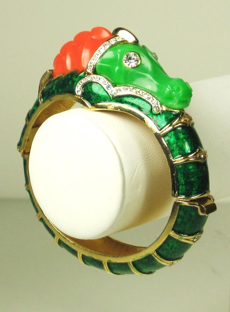 Unsigned Hattie Carnegie Enamel Seahorse Bracelet