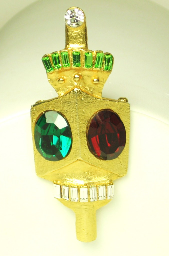 Hattie Carnegie Red and Green Glass Stoplight Brooch