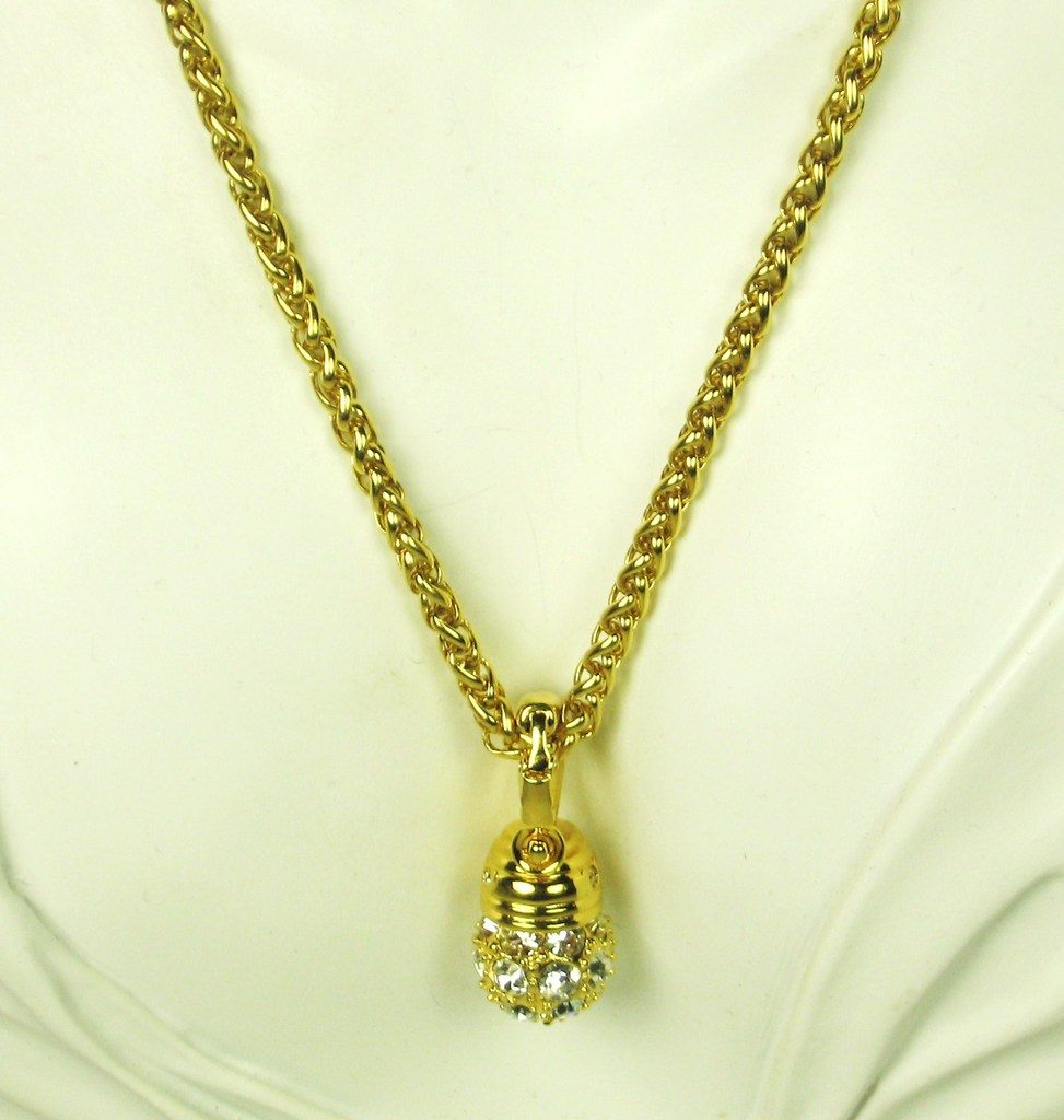 Vintage Nolan Miller Gold Plated Metal and Rhinestone Drop Pendant Necklace