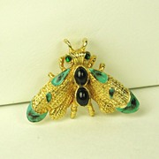 Hattie Carnegie Enamel and Glass Fly Pin