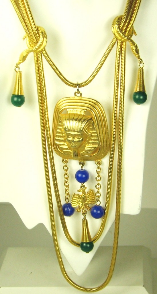 Vintage Egyptian Revival Sphinx and Plastic Dangle Necklace