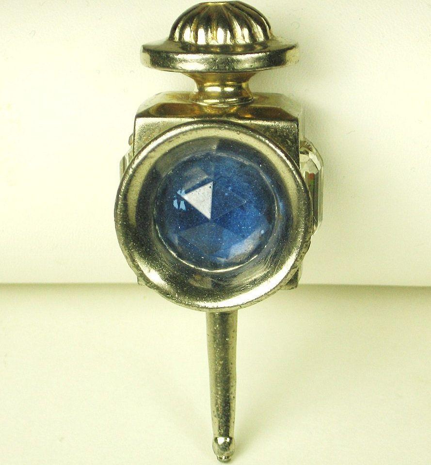 """Vintage Hattie Carnegie """"HC"""" Blue Gemstone Lantern Fur Clip"""