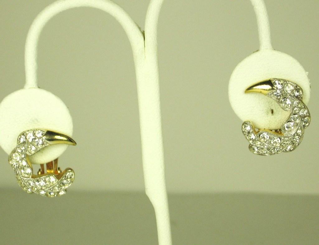 Trifari Gold Plated Metal and Rhinestone Crescent Earrings