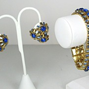 Vintage Hattie Carnegie Blue Glass Stone Bracelet and Earrings