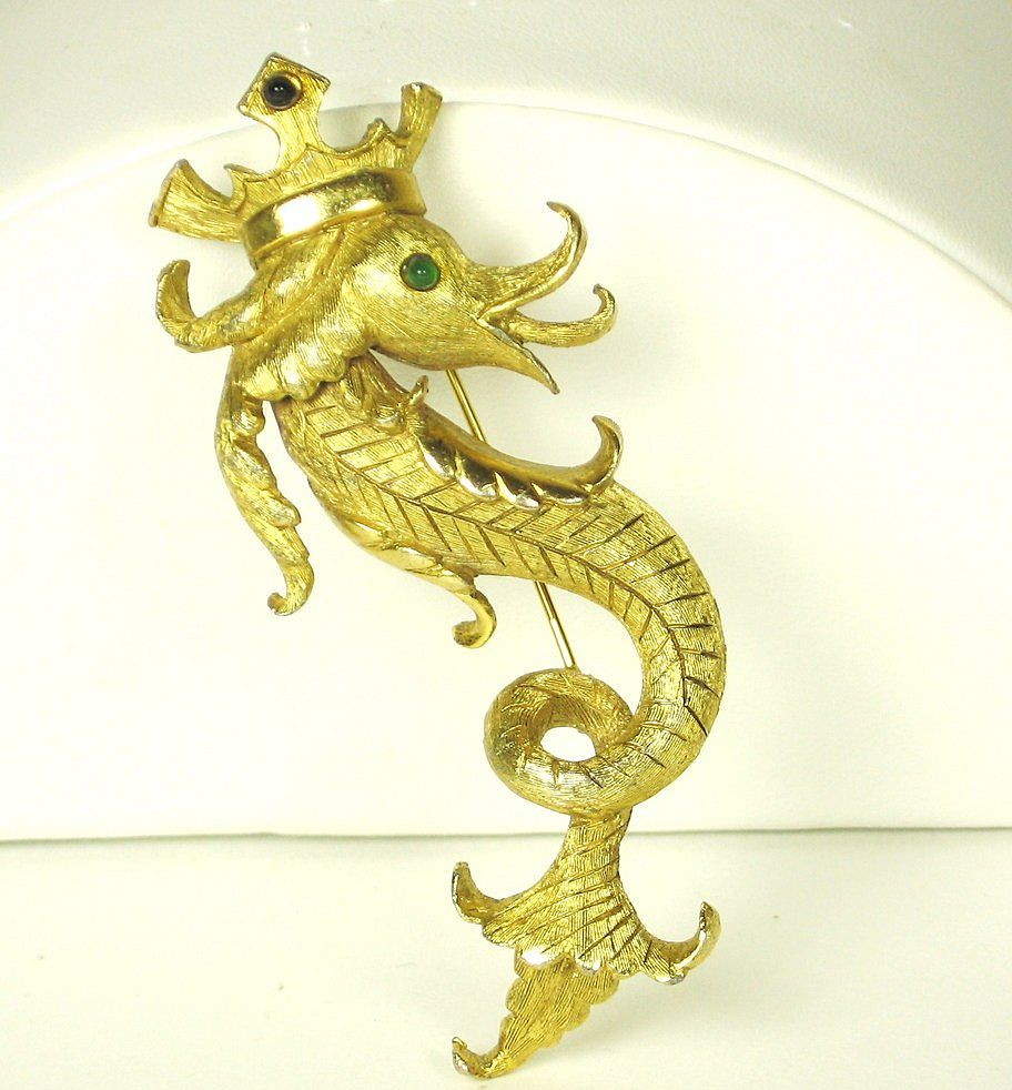 Vintage Hattie Carnegie Gold Plated Crowned Sea Serpent Pin