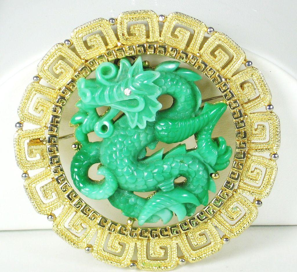 Hattie Carnegie Oriental Green Plastic Dragon Pendant Pin