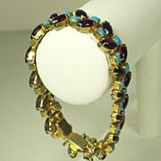 Vintage Hattie Carnegie Turquoise Glass Cabochon Bracelet