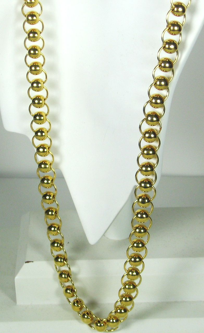Long Vintage Gold Plated Metal Rings Trifari Necklace with Original Price Tag