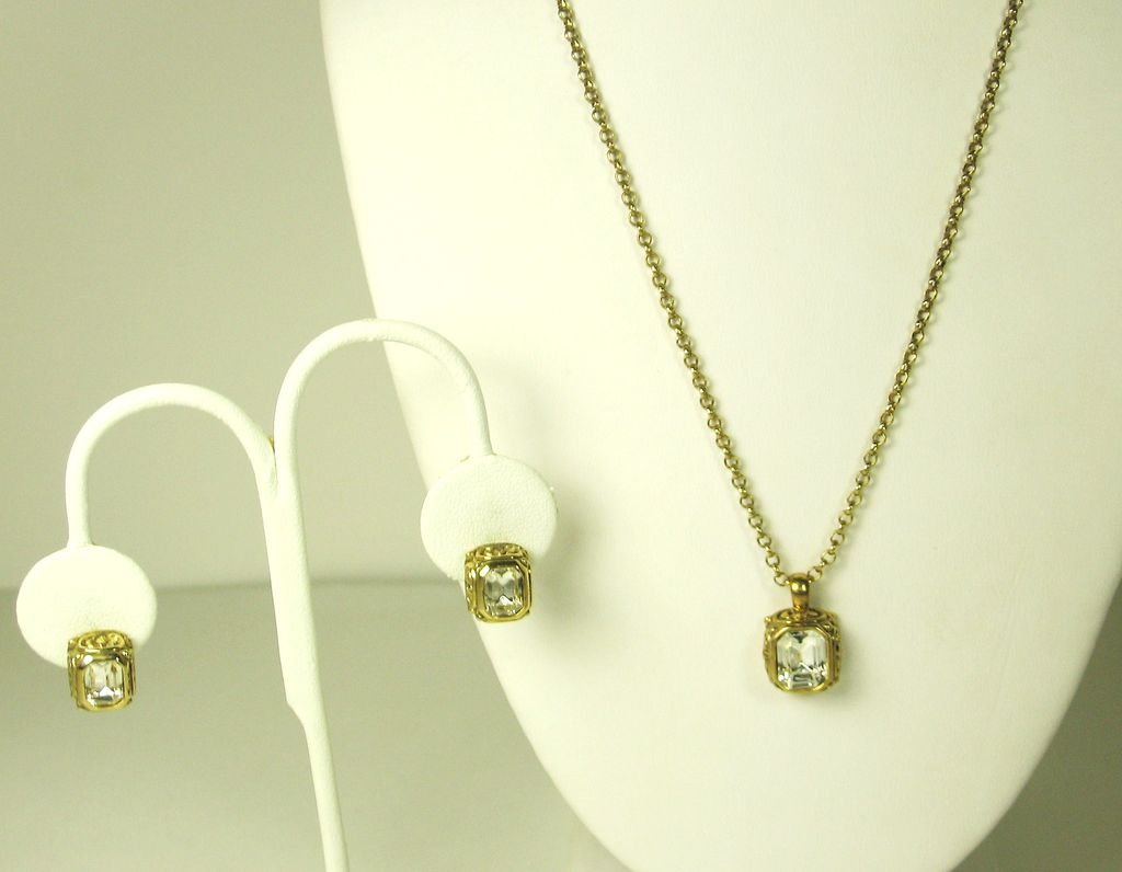 Vintage Emerald Cut Gemstone Necklace and Earrings Set