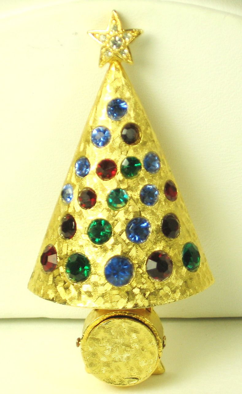Hattie Carnegie Rhinestone Light Up Christmas Tree Pin