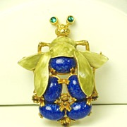 Kenneth Jay Lane Egyptian Revival Enamel Scarab Pin with Lapis Cabochons