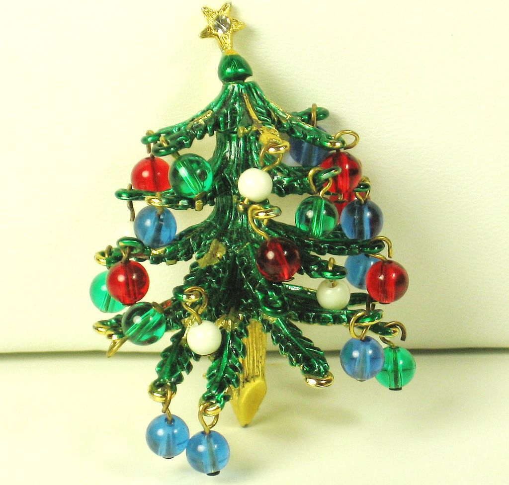 Vintage Hattie Carnegie Three Dimensional Enamel Christmas Tree Pin