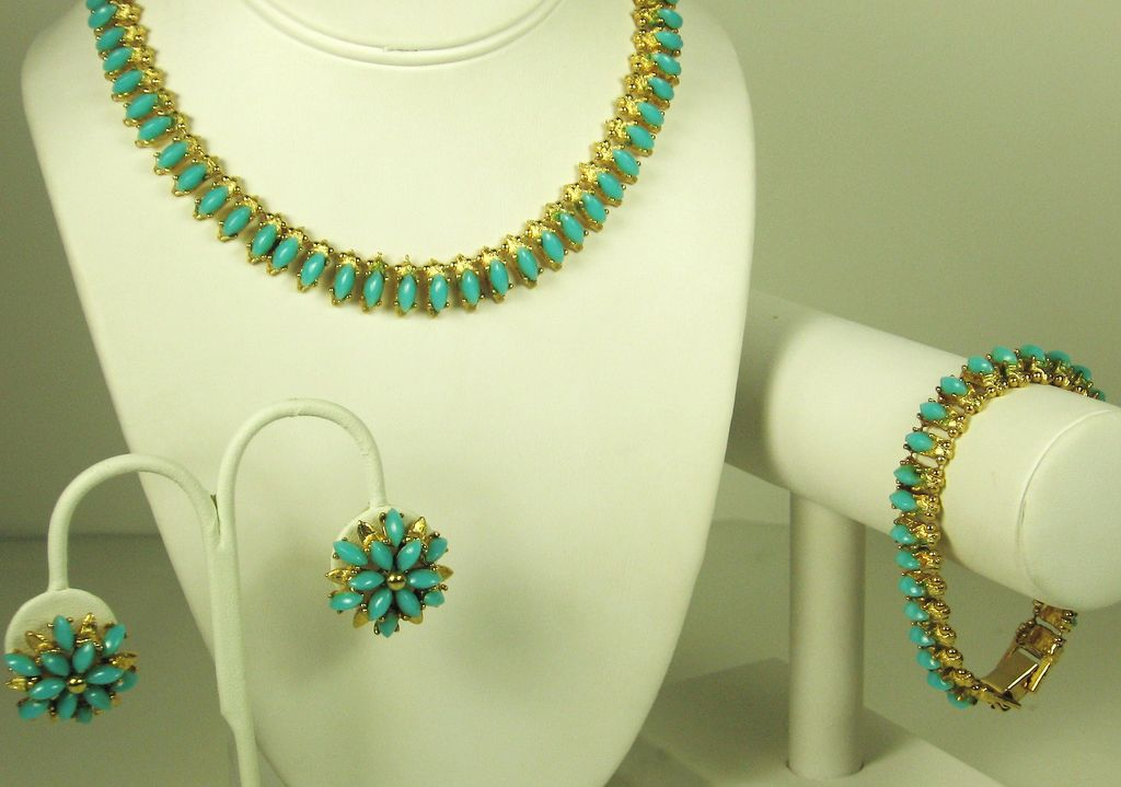 Har Turquoise Glass Bead Necklace, Bracelet, and Earrings Set
