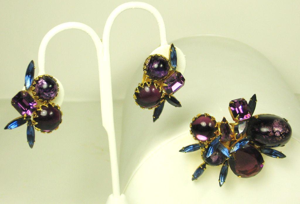 Hattie Carnegie Blue and Purple Art Glass Bead Pin and Earrings Set