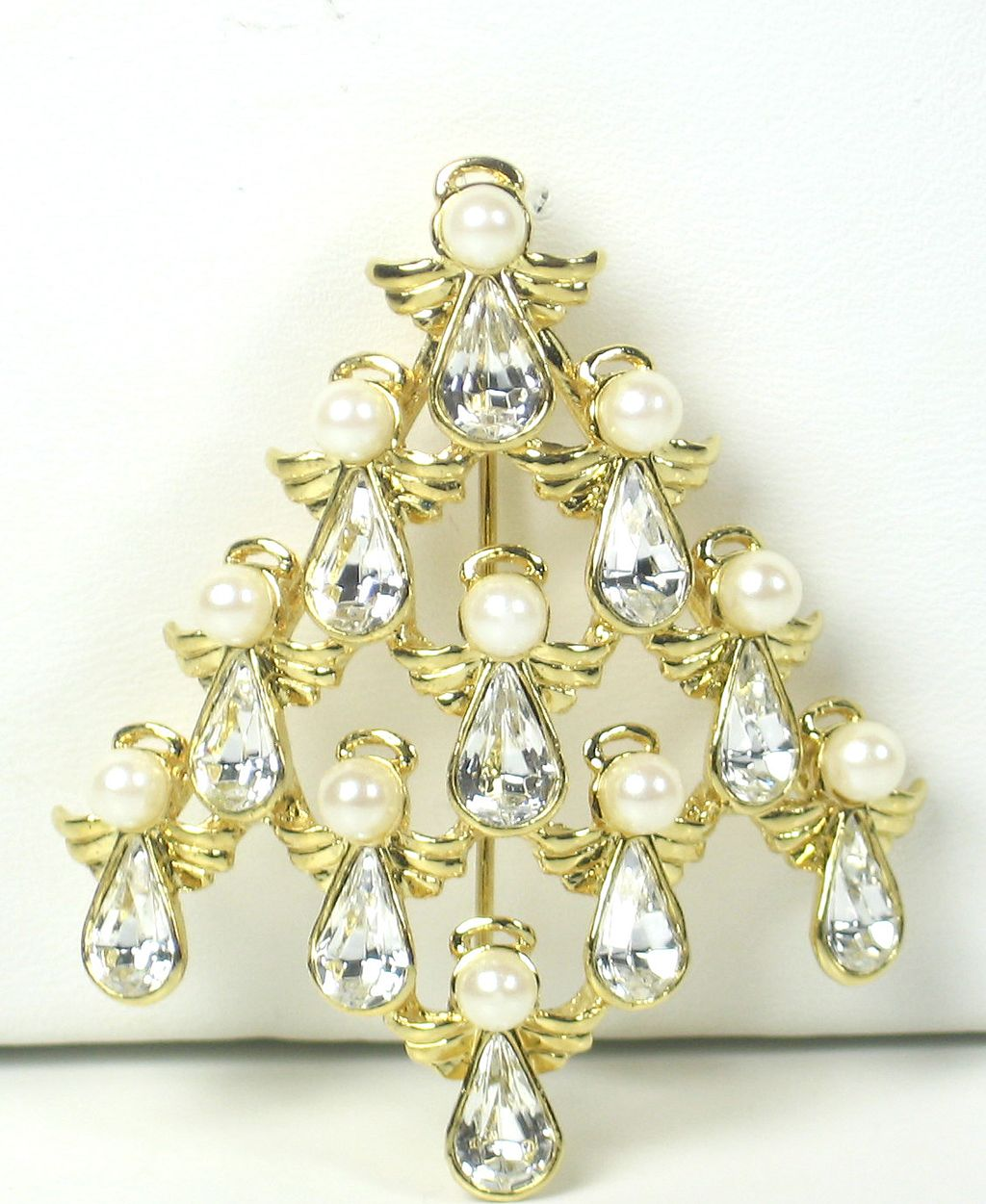 Vintage Imitation Pearl Angel Christmas Tree Pin
