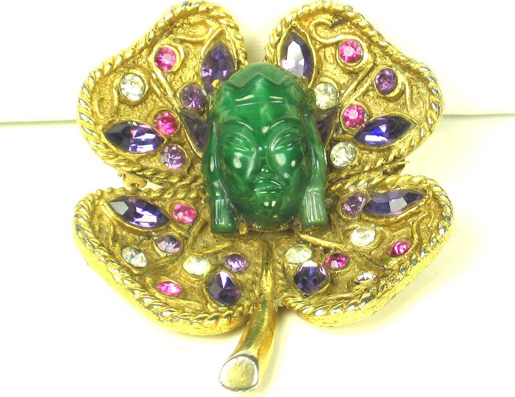 Rare Vintage Hattie Carnegie Asian Figural Clover Leaf Pin
