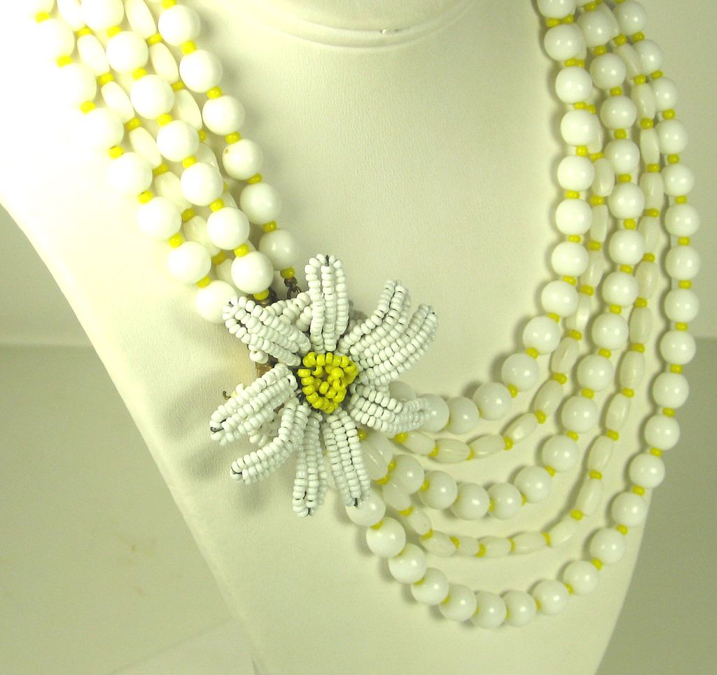 Vintage Hattie Carnegie Five Strand Glass Floral Necklace