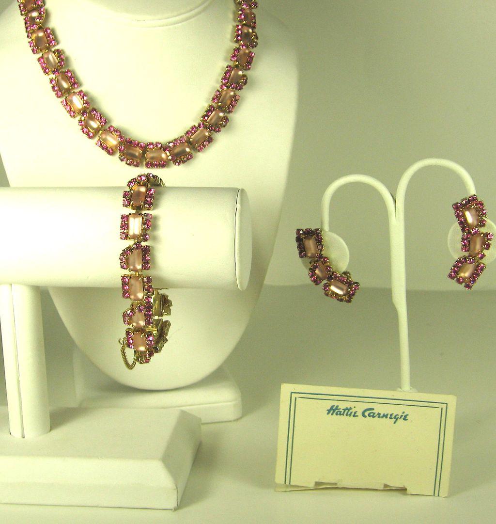 Vintage Hattie Carnegie Pink Rhinestone Necklace, Bracelet, and Earrings Set