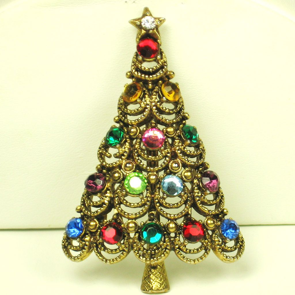 Vintage Hollycraft Rhinestone Christmas Tree Pin