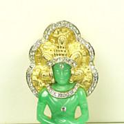 Vintage Hattie Carnegie Green Plastic Sitting Buddha Pin