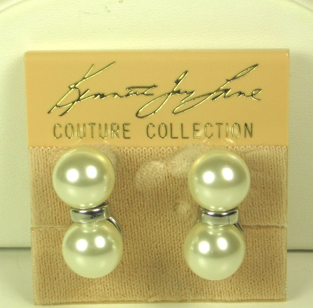 Kenneth Jay Lane Couture Collection Imitation Pearl Earrings