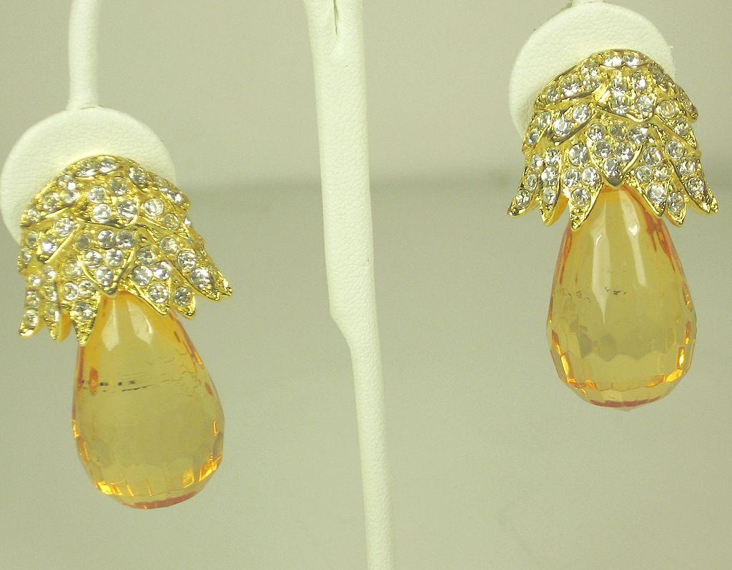 Vintage Kenneth Jay Lane Amber Lucite Fruit Earrings