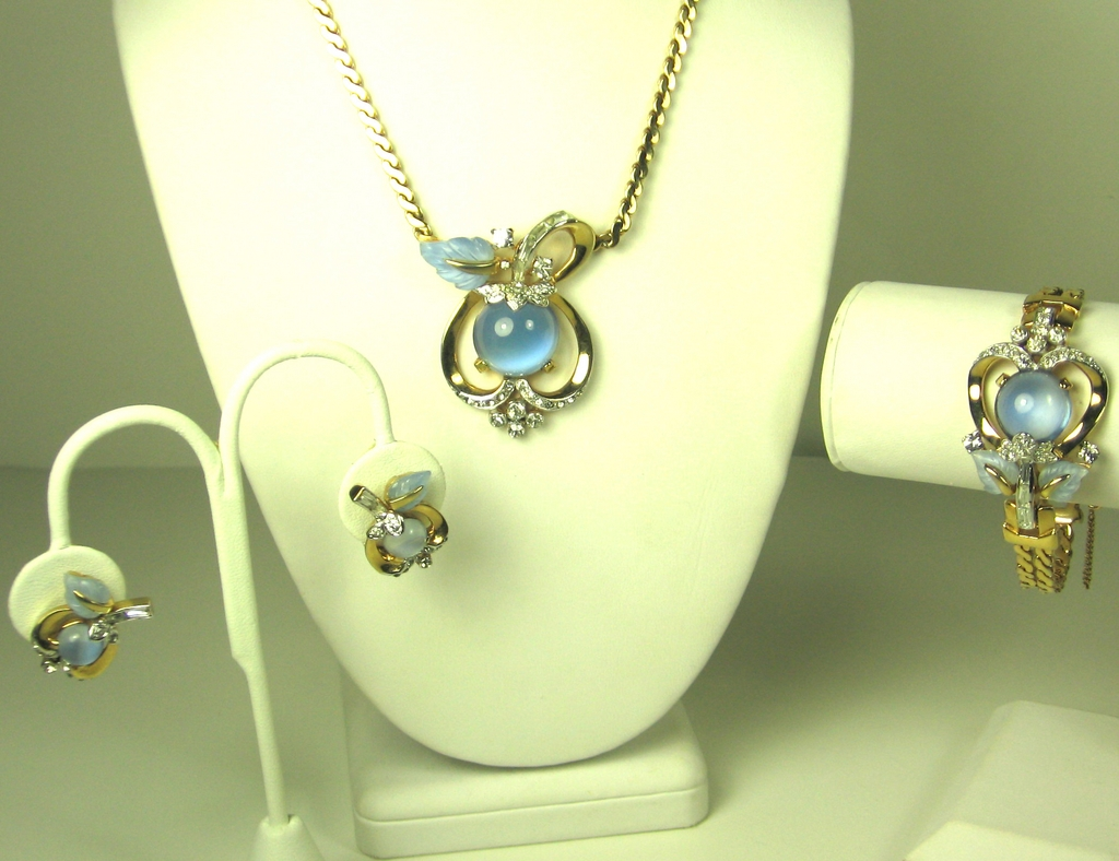 Mazer Bros Blue Moonstone Floral Necklace, Bracelet, and Earrings Set