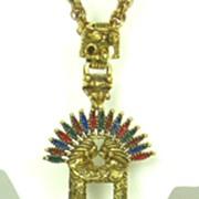 Larry Vrba Castlecliff Indian Art Glass and Enamel Pendant