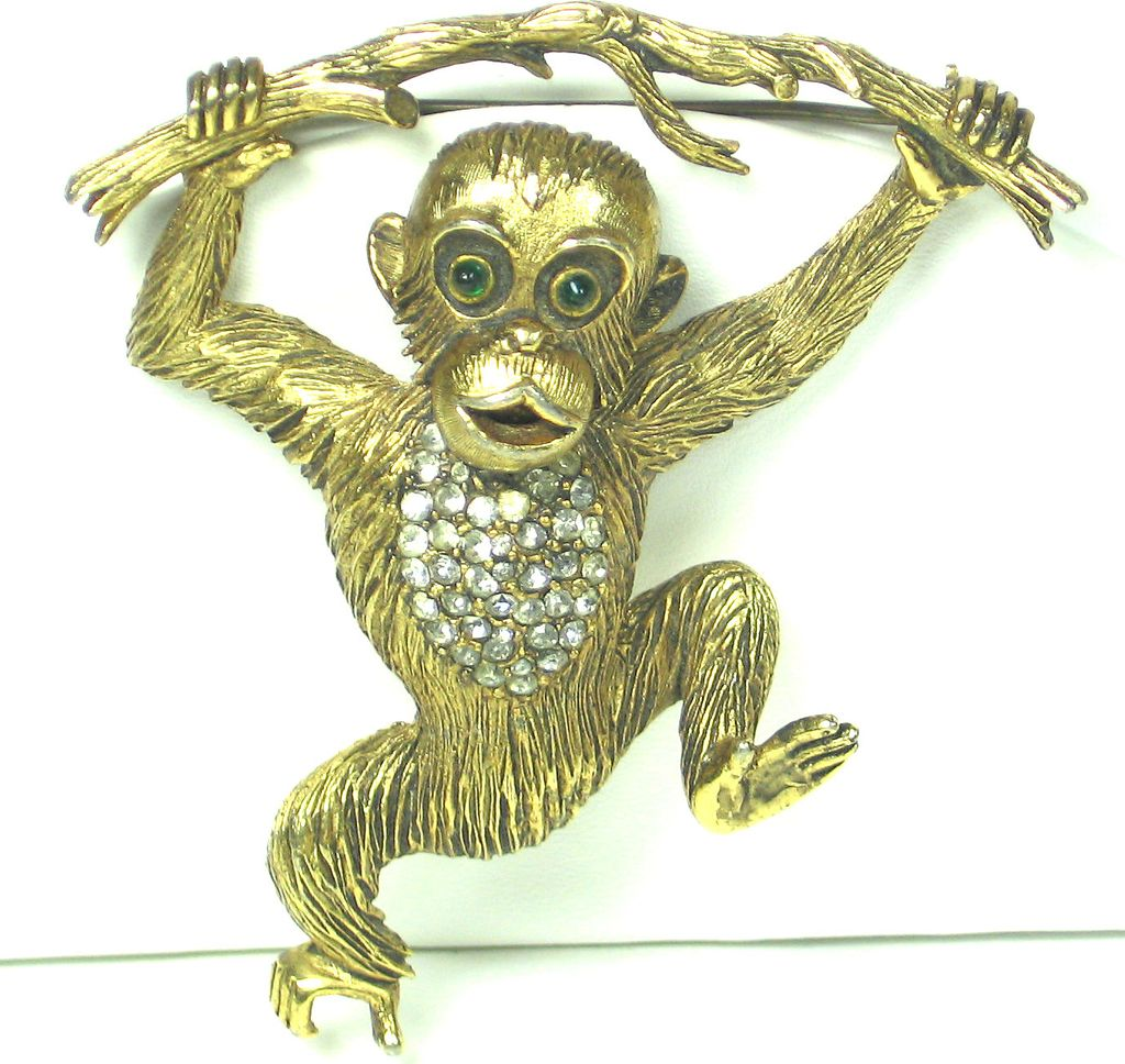 Vintage Hattie Carnegie Pave Rhinestone Monkey On Branch Pin