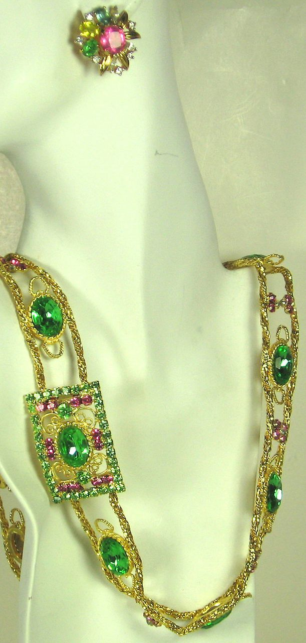 Jomaz Pink and Green Jeweled Belt and Earrings Set