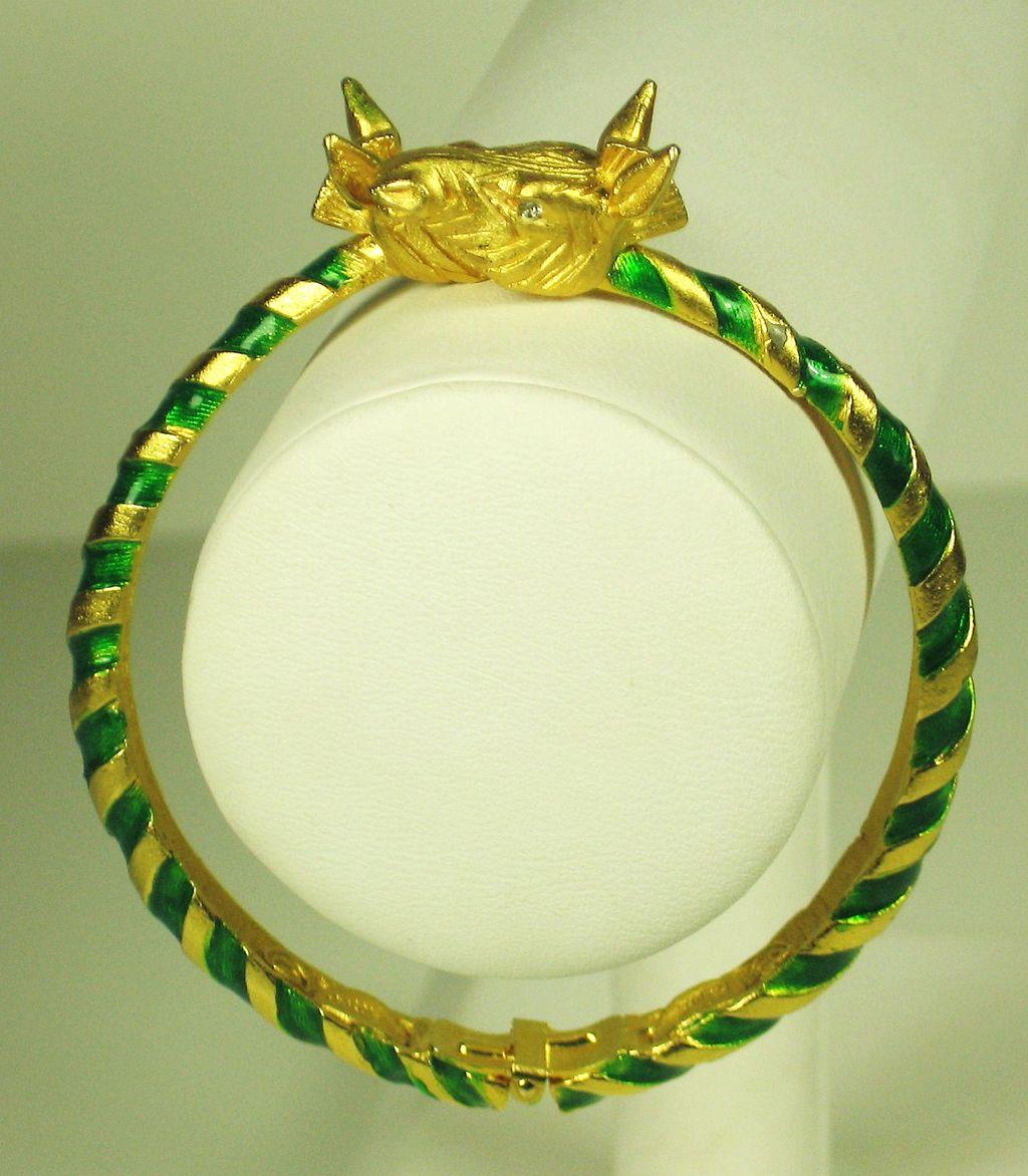 Hattie Carnegie Green Enamel Zebra Bracelet